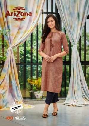 100 miles arizona 01-06 series 4080 + 5% Gst Extra cotton affordable price kurti pant catalog