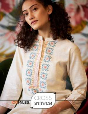 100 Miles cross 01-06 series 2610 + 5% Gst Extra stitch pure cotton embroidered casual wear kurties collection dealer
