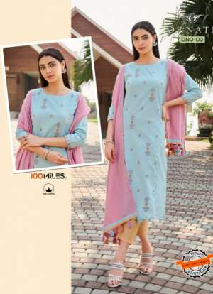 100 MILLES ORNATE 01-06 series 4920 + 5% Gst Extra COTTON INNOVATIVE STYLE KURTIS WITH PANTS AND DUPATTA CATALOG