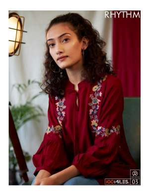 100 milles rhythm 01-04 series 1620  + 5% Gst Extra rayon exclusive embroidery tops catalog