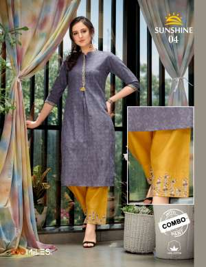 100 miles sunshine 01-06 series 4230 + 5% Gst Extra cotton exclusive emroideryKurtis with contrast combo pants catalog