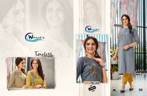 waves by 100 miles 01-04 series 2820 + 5% Gst Extra cotton embroidery kurti with bottom supplier