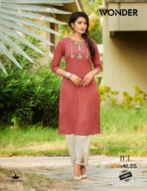 100 miles wonder 01-04 series 2820 + 5% Gst Extra combo pants pure cotton with embroidery Kurtis catalog