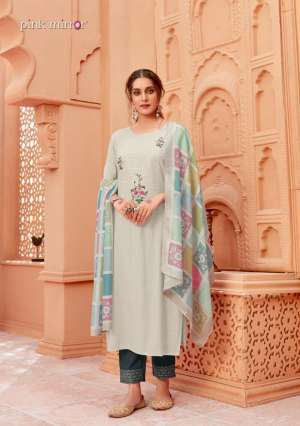 CORAL KURTI WITH BOTTOM AND DUPATTA