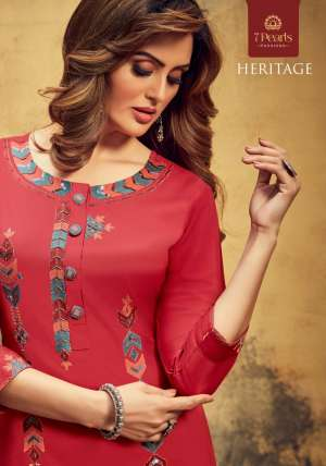 7 PEARLS HERITAGE 1001-1004 series 3716 + 5% Gst Extra VISCOSE AUTHENTIC FABRIC KURTI WITH PANT CATALOG