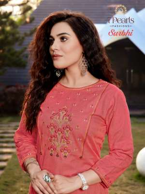 7 PEARLS SURBHI 1001-1004 series 2780 + 5% Gst Extra COTTON AUTHENTIC FABRIC KURTI WITH PANT CATALOG