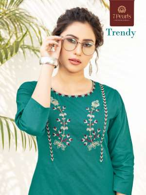 7 PEARLS TRENDY 1001-1004 series 2780 + 5% Gst Extra COTTON AUTHENTIC FABRIC KURTI WITH PANT CATALOG