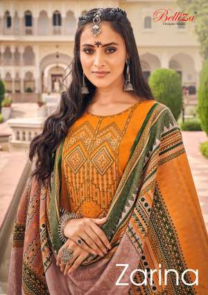 Belliza designer studio zarina 001-010 series 5850 + 5% Gst Extra pashmina decent look Pure Pashmina Shawl Digital Print salwar suit catalog