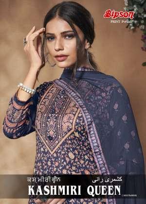 Bipson kashmiri queen 1015-1018 series  3100 + 5% Gst Extra Woollen Pashmina exclusive digital print salwar suit catalog