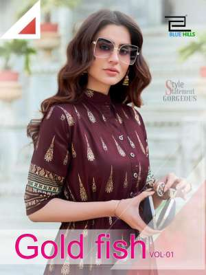 BLUE HILLS GOLD FISH VOL 1 101-104 series 2100 + 5% Gst Extra RAYON KALI STYLE WHOLESALE KURTIS STORE IN SURAT