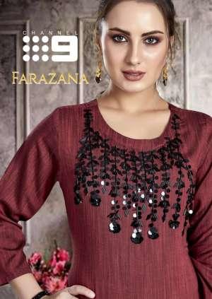 channel 9 1001-1004 series 2100 + 5% Gst Extra farazana rayon attractive look kurti catalog