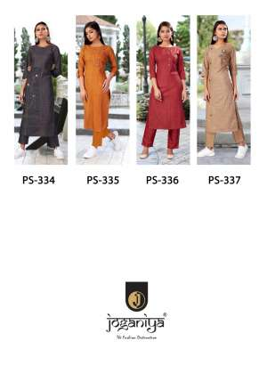 joganiya reet designer 334-337 series 2596 + 5% Gst Extra embroidery kurti with bottom catalog