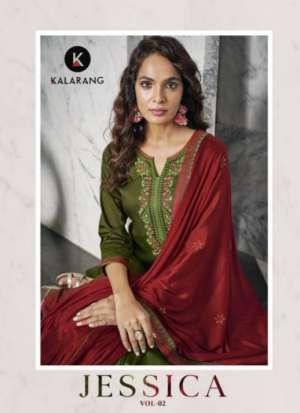 kalarang jessica vol 2 1641-1644 series 3196 + 5% Gst Extra jam silk cotton attractive Embroidery salwar suit catalog