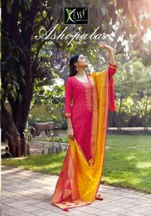 Kessi fabrics Asopalav vol 15 5621-5628 series 7192 + 5% Gst Extra silk attractive embroidary look Salwar suits catalog