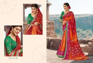 kessi bandhej vol 12 4231-4240 series 9990 + 5% Gst Extra georgette bandhani stylish fancy traditional wear saree