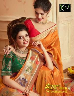 kessi present saugat silk 3831-3840 series 17990 + 5% Gst Extra traditional wear heavy look double blouse saree concept