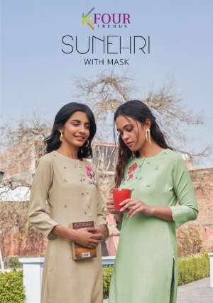 kfour sunheri designer ctchy 3131-3135 series 3995 + 5% Gst Extra look kurti catalog