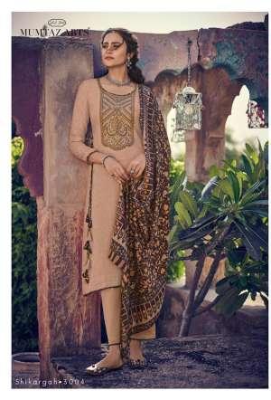 Mumtaz arts rangon ki duniya shikargah 3001-3005 series 3495 + 5% Gst Extra pashmina atractive print salwar suit catalog