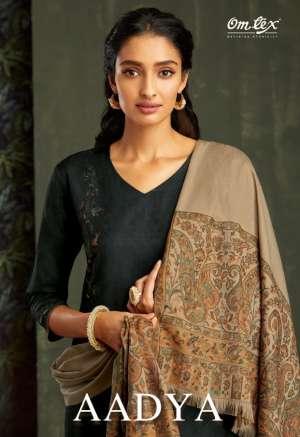 om tex aadya pashmina 1401-1408 series 11960 + 5% Gst Extra exclusive look pashmina handloom woven shawl salwar suit catalog