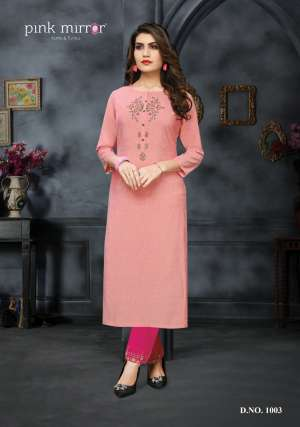 Pink mirror ira kurti with pant 1003