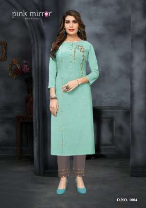 Pink mirror ira kurti with pant 1004