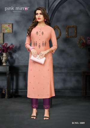 Pink mirror ira kurti with pant 1007