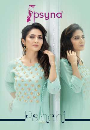Psyna panchi long 1001-1006 series 6900 + 5% Gst Extra straight fancy Kurties Collection