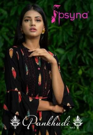 Psyna pankhudi vol-3 3001-3007 series 5250 + 5% Gst Extra elegant look beautifully designed Kurties