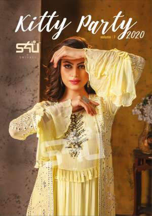S4u kitty party vol 7 701-706 series 11850 + 5% Gst Extra fancy party wear kurties with drapes collection at wholesale price