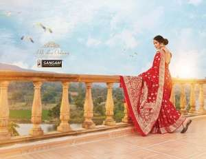 sangam prints red rose 1001-1006 series 8070 pure silk attractive look special red colour collections saree