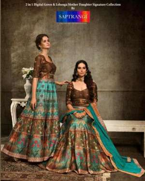 saptrangi 1101-1108 series 31992 + 5% GSt Extra digital gown and lehenga mother daughter collection