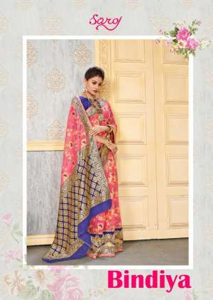 bindiya by saroj 1001-1004 series 3500 + 5% Gst Extra cotton silk jacquard traditional look saree wholesale rate