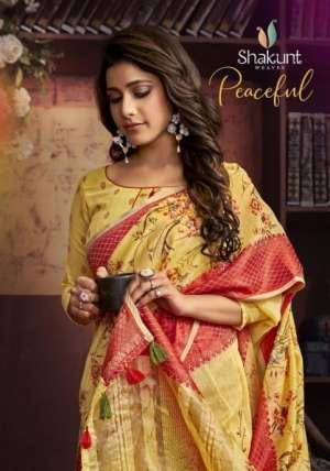 shakunt peaceful silk 27161-27166 series 6726 + 5% Gst Extra digital print branded looking stunning saree