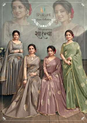 shakunt present sharanya 27731-27764 series 3564 + 5% Gst Extra linen silk stylish look saree collection