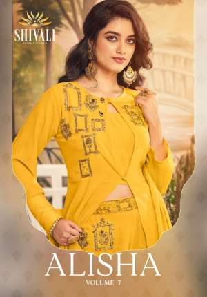 SHIVALI ALISHA VOL 7 701-705 series 10495  + 5% Gst Extra FANCY ASTONISHING STYLISH KURTI WITH PANT CATALOG