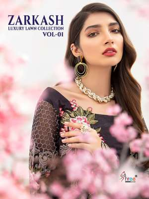 SHREE FAB ZARKASH LUXURY LAWN COLLECTION 1554-1561 series 6792  + 5% Gst Extra VOL 01 GORGEOUS LOOK SALWAR SUIT WITH COTTON DUPATTA CATALOG