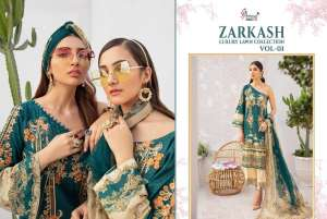 shree fab ZARKASH LUXURY LAWN COLLECTION VOL 01 WITH COTTON DUPATTA 1556