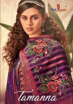 tunic house tamanna 81001-81006 series 7770  + 5% Gst Extra velvet decent look salwar suit catalog