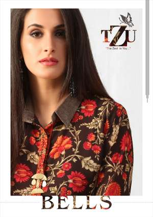 tzu bells 1001-1005 series 3150 + 5% Gst Extra georgette catchy look long kurti catalog
