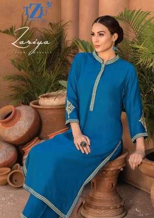 tzu life style zariya 1001-1004 series  3168  + 5% Gst Extra embrodery kurti with bottom catalog