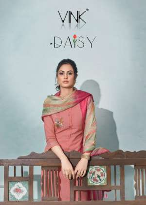 VINK DAISY 1021-1026 series 5994 + 5% Gst Extra COTTON CATCHY LOOK DAISY KURTI WITH PANT DUPATTA CATALOG