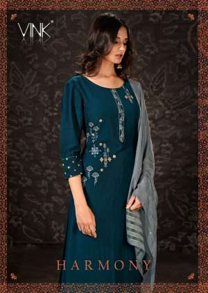 vink harmony 941-946 series 6420  + 5% Gst Extra viscose silk new and modern style kurti plazzo with jacquard dupatta catalog