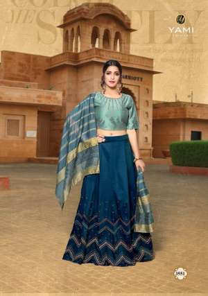 yami fashion launch kaanchie silk 3551-3556 series 8370 + 5% GSt Extra cape top skirt with dupatta online collection