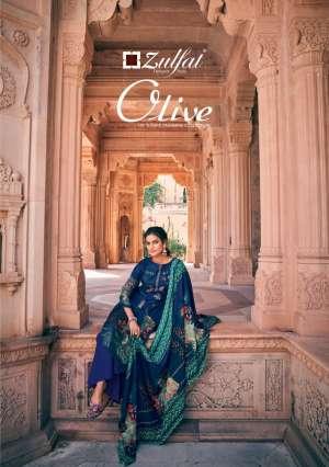 Zulfat designer olive 001-010 series 4850 + 5% Gst Extra pashmina gorgeous look salwar suit catalog