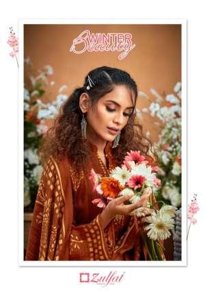 Zulfat Designer Suits winter beauty 001-010 series 3950 + 5% Gst Extra pashmina attrective print Dupatta Pure Pashmina shawl salwar suit catalog