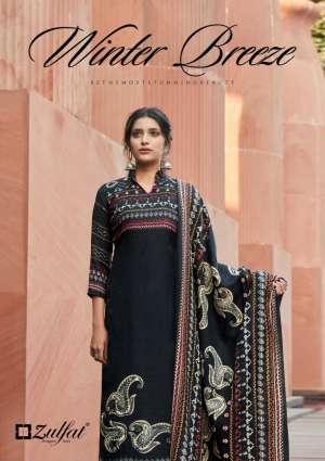 Zulfat Designer Suits winter breeze vol 2 001-010 series 4950 + 5% Gst Extra pashmina atrective print Dupatta Pure Pashmina shawl salwar suit catalog