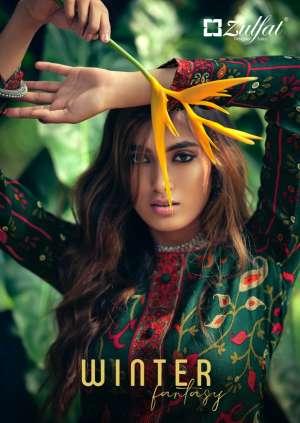 Zulfat Designer Suits winter 001-012 series 4740 + 5% Gst Extra fantasy pashmina regal look salwar suit catalog