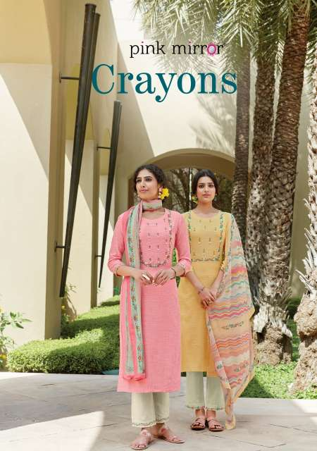 PINK MIRROR CRAYONS TOP WITH PANT AND DUPATTA