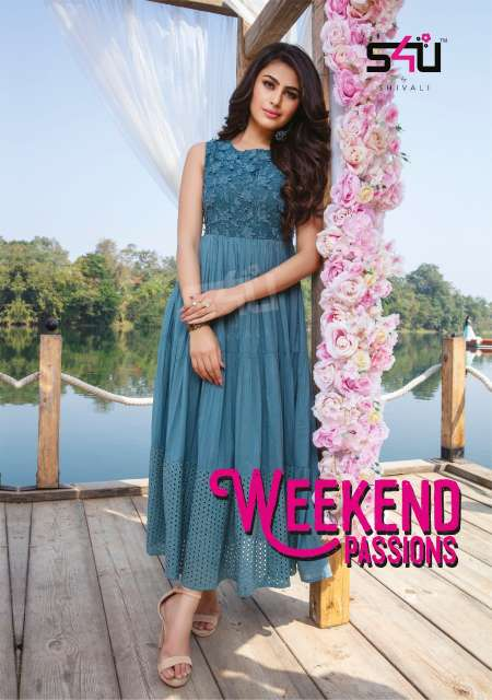 S4U WEEKEND PASSION COTTON CLASSIC WP001-WP006 series 6390+ 5% Gst Extra TRENDY LOOK LONG KURTI CATALOG